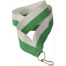 Лента для медали бело-зеленая (W/GN)